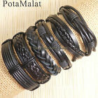 PotaMalat 6pcs Handmade braided male female leather bracelet bangle wrap D89