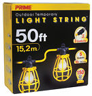 PRIME LSUG2830 - Yellow 12/3 SJTW 5-Light String 50' with Plastic Cages