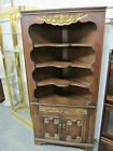 ANTIQUE SOLID OAK CORNER CABINET WITH GILT ACCENTS 33