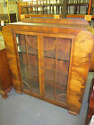 ANTIQUE ART DECO WALNUT DISPLAY CABINET 2 GLASS SLELVES 45