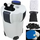 Aquarium Canister Filter 9W UV Sterilizer 525 GPH Fresh/Salt 175Gal FREE MEDIA