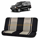 BEIGE BLACK POLY MESH NET 2PC SPLIT BENCH SEAT COVER for JEEP COMPASS CHEROKEE