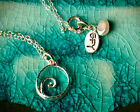 New Silver Wave Spiral Necklace Tiny Dainty Simple Pendant on Sterling Chain