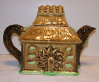 Vintage Individual Majolica Style Teapot, Cottage, House or Mill, Waterwheel