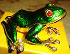 Pewter Alloy hinged frog figurine trinket box, collectible, decorative, sea Life
