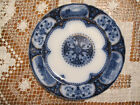 Antique Flou Blue Leicester Hancock Butter Plate Coach Hunting Fox