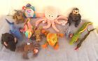 Ty Plush Lot Beanie Dog Eel Snake Frog Lizard Crab Shark Octopus Bison Anteater+