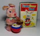 VTG WIND UP CLOCKWORK FUJI PRESS KOGYO JAPAN FRISKY BUNNY BAND TIN LITHO TOY