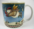 Debbie Mumm Snow Angel Village With Candle Mug Cup Holiday Christmas Folk Art