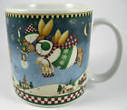 Debbie Mumm Snow Angel Village With Bucket Mug Cup Holiday Christmas Folk Art