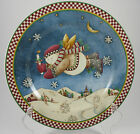 Debbie Mumm Snow Angel Village With Candle Plate Holiday Christmas Folk Art