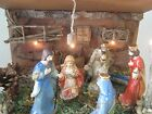 Nativity Wood Barn with figurine set