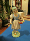 HEREND Hungary Porcelain Lady Girl in Folk Dress with Basket of Roses Flowers