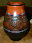 RARE Designer Edgewater Dine' Etched Navajo Red Clay Kokopelli Vase by H. Oliver
