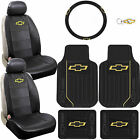 10 pc Chevy Elite Black Seat Covers Rubber Floor Mats Steering Cover Key Chain