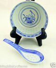Vintage Tienshan Blue and White Rice Flower Bowl Spoon set