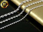 925 Sterling Silver Stamp -  Rope Chain Necklace 16 - 30 inch 2,3,4 mm