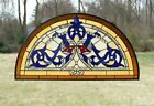 Handcrafted stained glass window panel Half Round Beveled Glass 34 x 1825