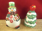 Fitz and Floyd Snowman Holiday Christmas Tree Salt and Pepper Shakers (C24)