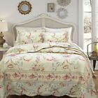 BEAUTIFUL IVORY VINTAGE ANTIQUE VIBRANT TEAL EXOTIC FLORAL QUILT SET CAL