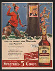 1943 SEAGRAM'S 5 Crown Whiskey -The 5 Crowns Give Toughness the Knife VINTAGE AD