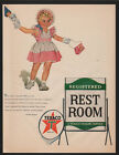 1953 TEXACO -  REGISTERED REST ROOM With Cute Little Girl VINTAGE AD