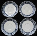 Adams Saucers Set of 4 White Blue Clover Shamrock Brentwood English Ironstone