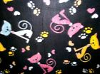 Cat Hearts and Paws on Black Fleece Fabric By the Yard
