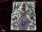 ANTIQUE BELGIUM PINKS WHITE FLORAL DESIGN IRIDESCENT GLASS BEADED FRINGE PURSE