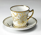 Continental Porcelain Cup & Saucer Hand painted gilt designs, 19th century