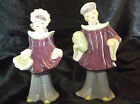Vintage Oriental figurines, dated 1951, man and women, marked Nessi