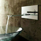 Nickel Brushed Wall Mount Bath Basin Faucet Waterfall Sink Faucet Mixer Tap L103