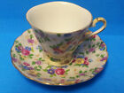 Shafford Japan Hand Decorated Floral Chintz Teacup and Saucer Set