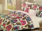 CYNTHIA ROWLEY 4PC TWIN XL COMFORTER SET ~ OWLS ~ AQUA GREEN MAGENTA BLUE