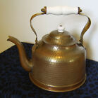 Vintage Copper 2QT Tea Kettle - Tin Lined / Porcelain Handle - Made in Portugal
