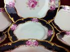 VERY RARE!  REICHENBACH Roses and 24K gold-plated: Dessert set,  Plate 6 +1