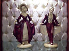 STUNNING LARGE VINTAGE CHALKWARE STATUE PAIR COURTING MAN AND WOMAN 10 1/4