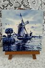 VNTG DUTCH de Delftse Pauw DELFT BLUE WHITE PORCELAIN CERAMIC WINDMILL WALL TILE