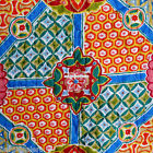 MOROCCAN FLORAL 3pc KING QUILT COVERLET ORANGE BLUE FUSCIA TEAL YELLOW TAN