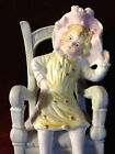 Antique German? Bisque Porcelain Figurine Child in a Chair, 4 1/2