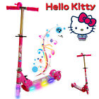 HELLO KITTY FOLDABLE SCOOTER TODDLER KIDS PUSH KICK 3 WHEEL LED RIDE ON TOY