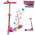 MONSTER HIGH FOLDABLE SCOOTER TODDLER KID GIRL PUSH KICK 3 WHEEL LED RIDE ON TOY