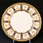 12 Royal Doulton Dinner Plates, Very Thick Gold Design, gold encrusted and beadi