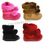 NEW Baby Infant Girls Flat Snow Pom Pom Faux Fur Comfort Mid Calf Booties Boots