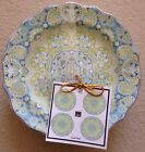 222 Fifth LYRIA TEAL  Appetizer Plates Set 4