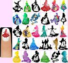 60x DISNEY SILHOUETTES Nail Art Decals + Free Gift Princesses Princess Frozen