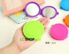 1x Cute Silicone Round Dual Sided Mirror Portable Makeup 10 Candy Colors