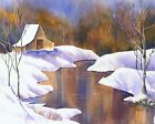 Winter Snowy Country Barn Lake - Original Watercolor Painting