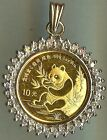 VINTAGE ESTATE JEWELRY CHINESE PURE GOLD PANDA COIN IN A DIAMOND BEZEL PENDANT