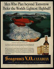 1944 Futuristic Bombs & Helicopters Will Destroy fires - SEAGRAMS - VINTAGE AD